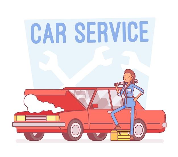 Auto service center, lijn kunst illustratie