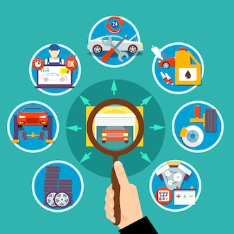 Auto service cirkel ontwerpconcept
