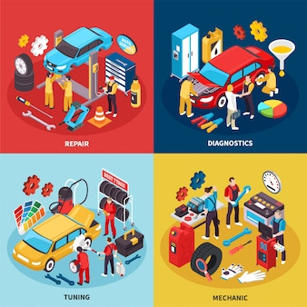 Auto service concept icons set