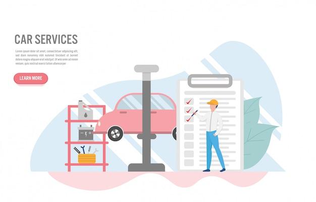 Auto service concept met karakter in platte ontwerp