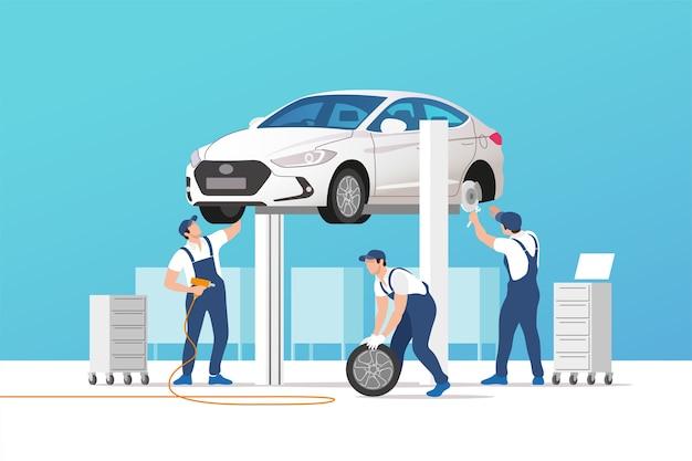 Auto service en reparatie. auto's in onderhoudswerkplaats met monteursteam.