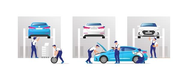 Auto service en reparatie. auto's in onderhoudswerkplaats met monteursteam. Premium Vector