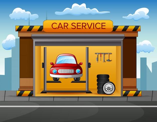 Auto service gebouw achtergrond met auto binnen