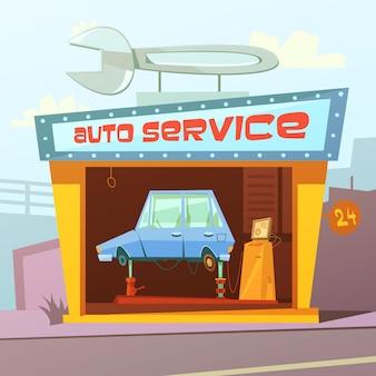 Auto service gebouw cartoon achtergrond