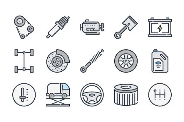 Auto service gerelateerde kleur lijn icon set.