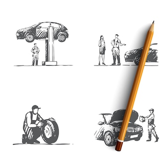Auto service hand getekende illustratie