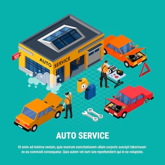 Auto service isometrisch concept met diagnostiek en apparatuur hulpmiddelen vector illustratie