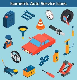 Auto service isometrische pictogrammen instellen