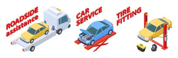 Auto service isometrische set