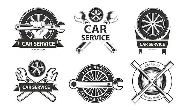 Auto service logo's ingesteld