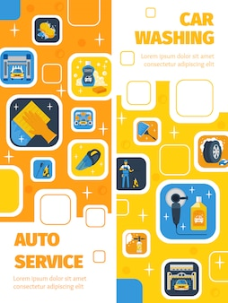 Auto service met wasstraat center 2 platte verticale banners advertentie reinigingsproducten symbolen