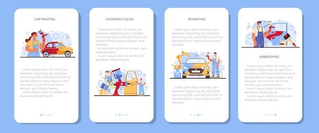 Auto service mobiele applicatie banner set. monteur in uniforme verf
