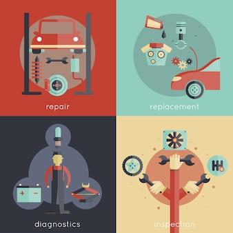 Auto service ontwerpconcepten instellen