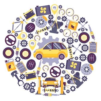 Auto service pictogrammen in ronde frame samenstelling voertuig onderhoudscentrum auto reparatie service