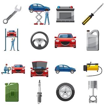 Auto service pictogrammen instellen in cartoon stijl