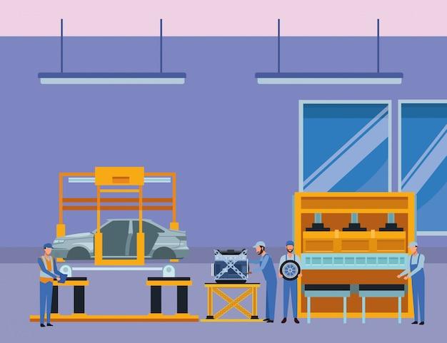 Auto service productie cartoon