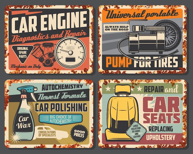Auto service roest tekenplaten, auto tankstation