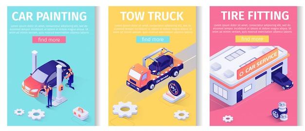Auto service set voor banner voor online mobiele appset