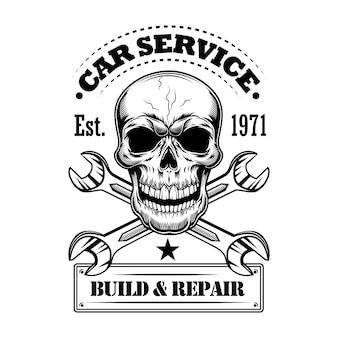 Auto service vectorillustratie. monochrome schedel, gekruiste steeksleutels, bouw- en reparatietekst. autoservice of garageconcept voor emblemen of labelsjablonen