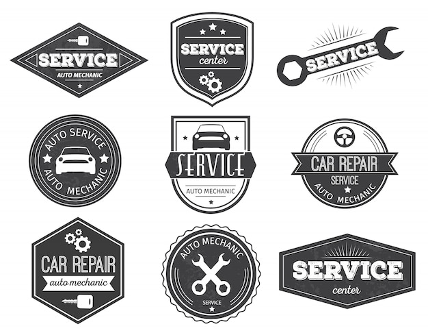 Auto service zwarte emblemen
