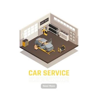 Auto servicesystemen isometrische illustratie Premium Vector