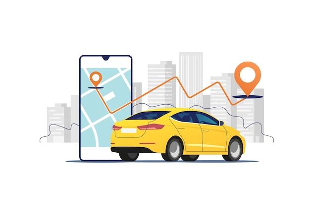 Auto, smartphone met route op de achtergrond van het stedelijk landschap. auto- en satellietnavigatiesystemen.