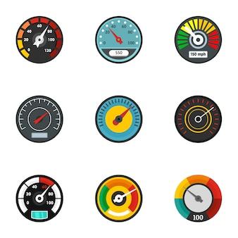 Auto snelheidsmeter icon set, vlakke stijl