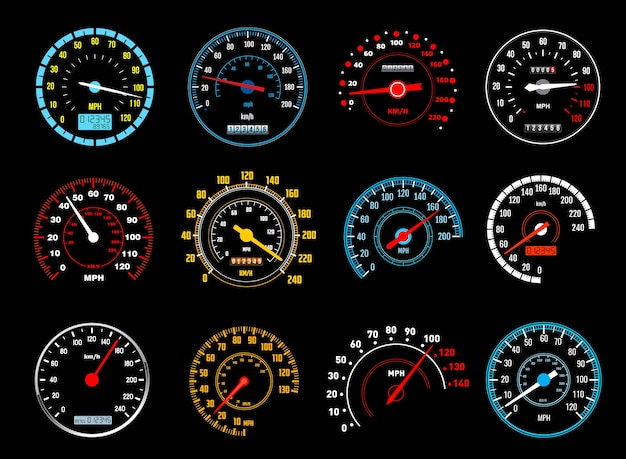 Auto snelheidsmeter iconen van dashboard snelheidsmeters.