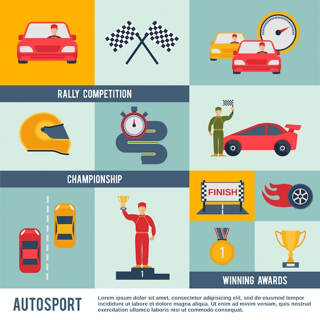 Auto sport pictogram plat