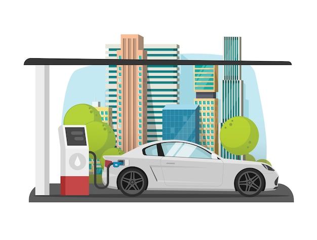 Auto tanken op stadsbenzinegas tankstation plat