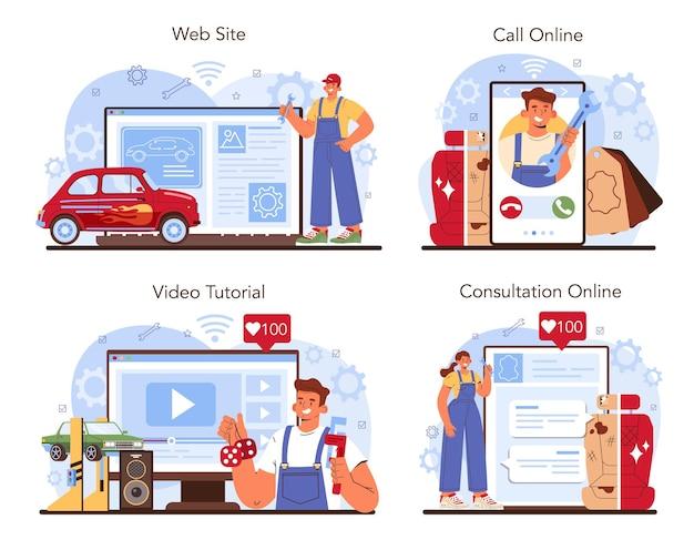 Auto tuning online service of platform set. auto-interieur is vervangen