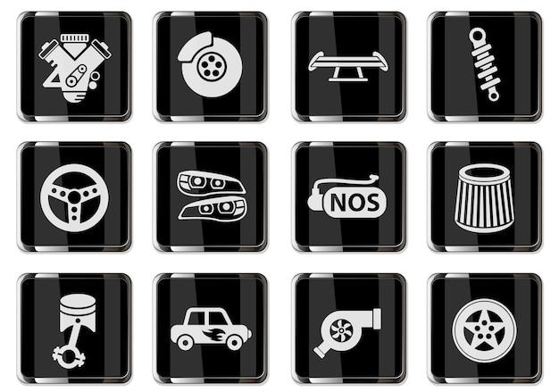 Auto tuning pictogrammen in zwarte chromen knoppen. pictogrammenset voor uw ontwerp. vector iconen