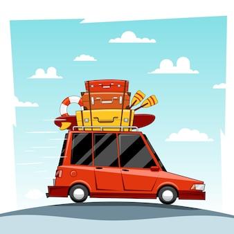 Auto vakantie illustratie.