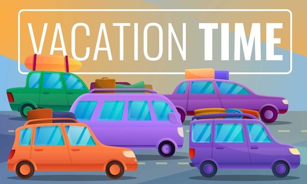 Auto vakantietijd op cartoon-stijl