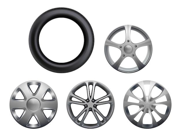 Auto velgen. realistische wielen voertuig banden collectie vector close-up foto's set geïsoleerd. rubber en velg voor wieltransport of reparatieauto
