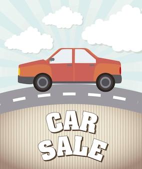 Auto verkoop aankondiging vintage stijl vectorillustratie