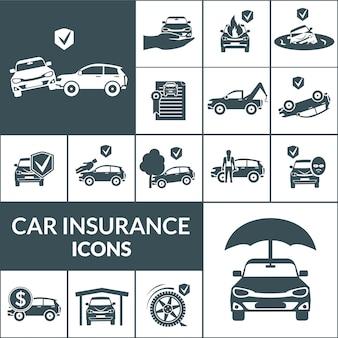 Auto verzekering pictogrammen zwart