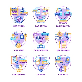Auto voertuig set pictogrammen