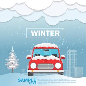 Auto vooraanzicht over de vectorillustratie van het sneeuwwinterseizoen