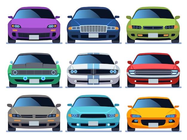 Auto vooraanzicht set. stedelijk verkeer voertuig model auto pictogram vervoer kleur snel auto weg stadsverkeer rijden set