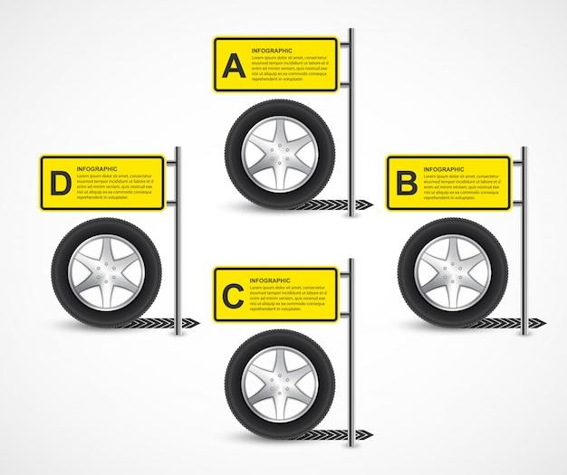 Auto wiel infographic ontwerpsjabloon.