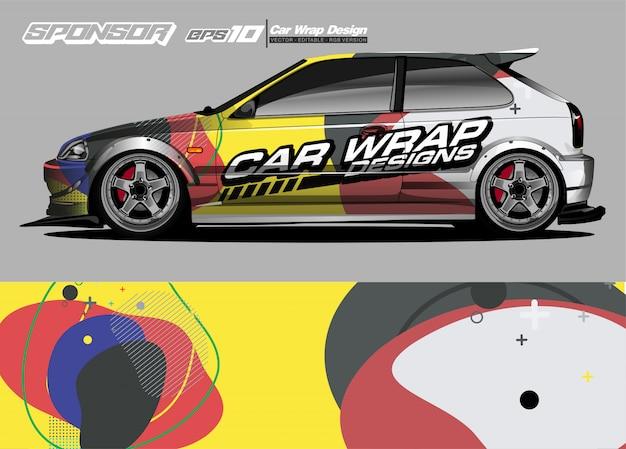 Auto wrap grafische race abstracte strip en achtergrond voor auto wrap en vinyl sticker