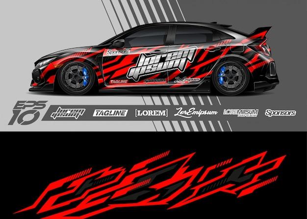 Auto wrap sticker grafisch ontwerp. abstracte streep racen.