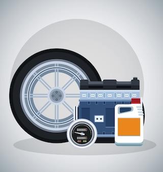 Autoband met motor en snelheidsmeter