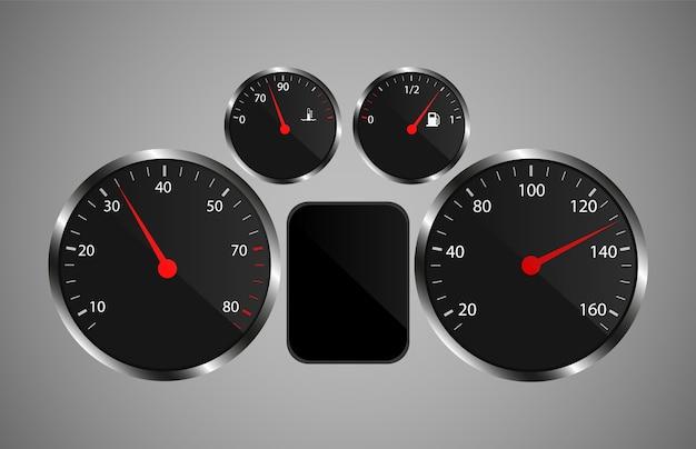 Autodashboard in realistische stijl.