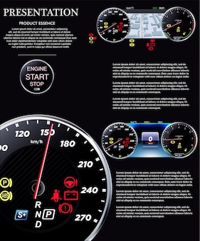 Autodashboard. snelheidsmeter eps