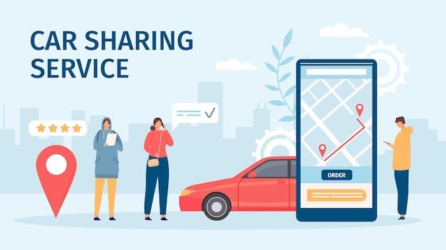 Autodeelservice. groot smartphonescherm met mobiele app en mensen die auto's bestellen om te delen of te huren. platte online autodelen vector concept. auto boeken of huren voor reis in aanvraag