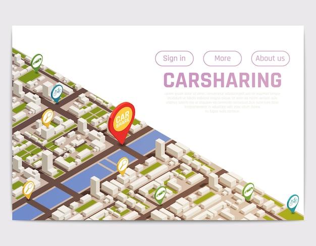 Autodelen carpooling website bestemmingspagina met isometrische stadsplattegrond en locatietekens met knoppen