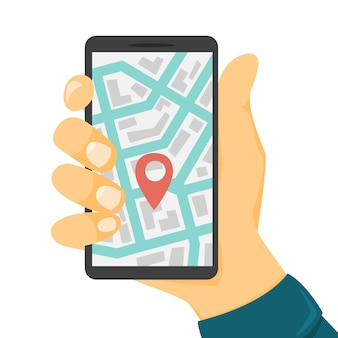 Autodelen concept. boek een auto via een app op de mobiele telefoon. vervoerservice online. reis concept. illustratie