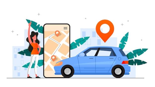 Autodelen dienstverleningsconcept. idee van voertuigaandeel en transport. mobiele applicatie voor het huren van auto's. illustratie